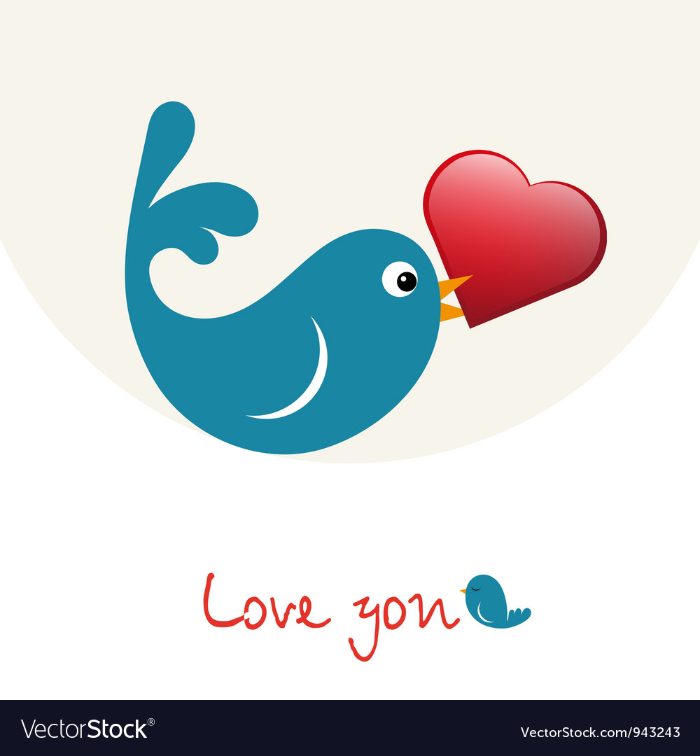 Nice enamoured birdie with heart vector | Price: 1 Credit (USD $1)