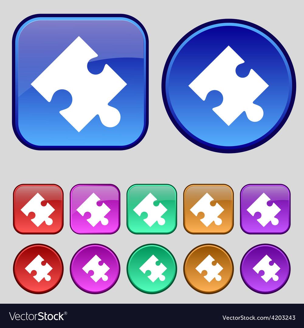 Puzzle piece icon sign a set of twelve vintage vector   Price: 1 Credit (USD $1)