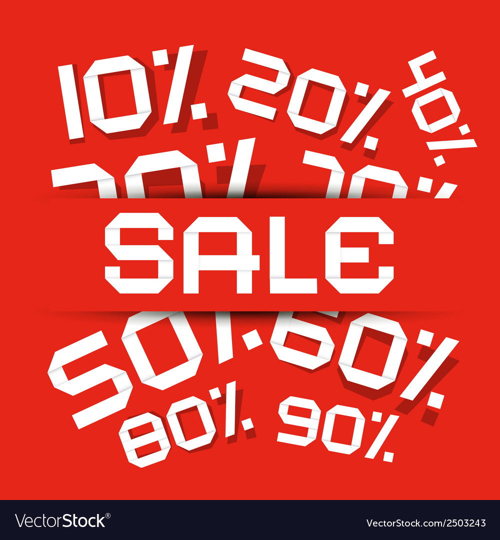 Sale paper title - discount on red backgroun vector | Price: 1 Credit (USD $1)