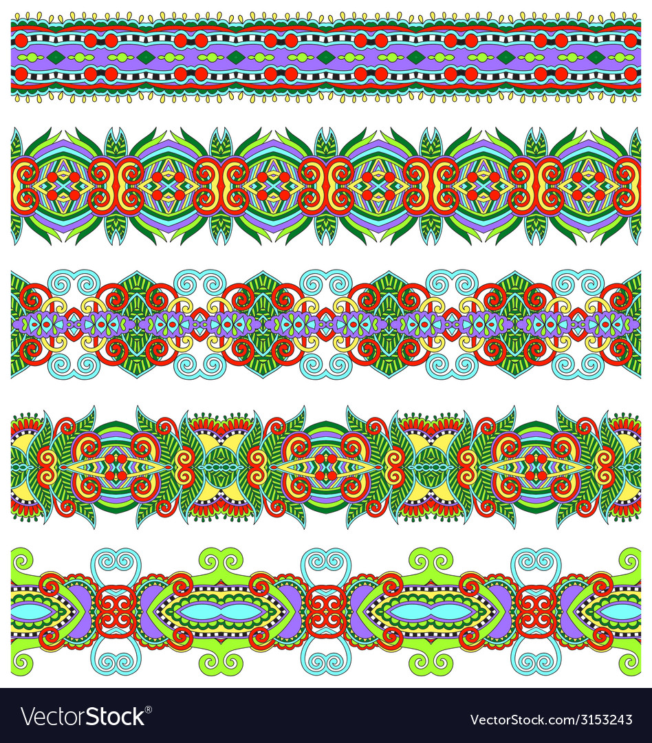 Seamless ethnic floral paisley stripe pattern vector   Price: 1 Credit (USD $1)