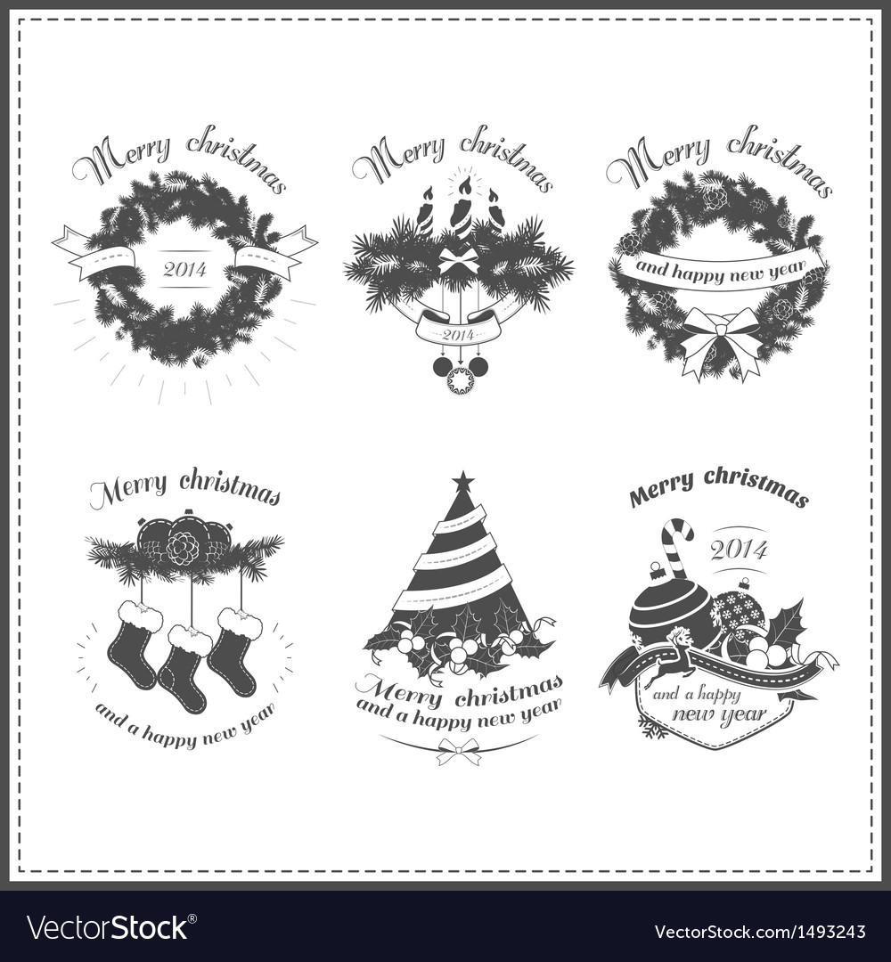Set of christmas design elements vector | Price: 3 Credit (USD $3)