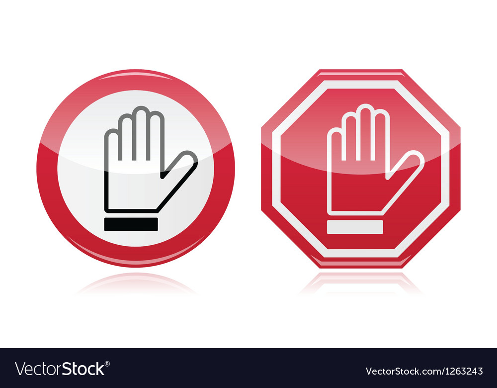 Stop warning road sign with hand vector | Price: 1 Credit (USD $1)