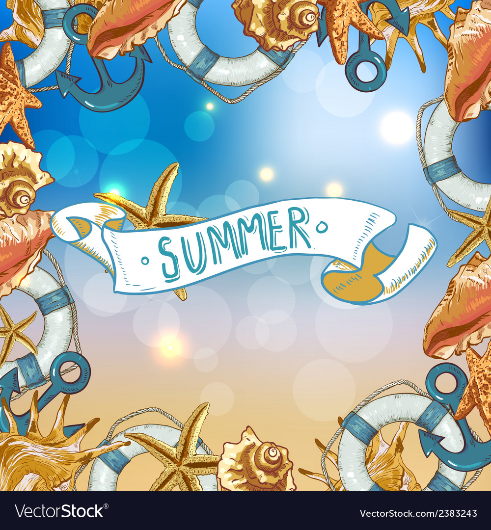 Summer card with sea shells anchor lifeline vector | Price: 1 Credit (USD $1)