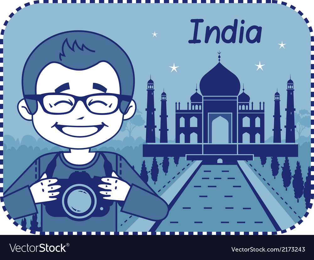 Teaser with photographer travels through india vector | Price: 1 Credit (USD $1)