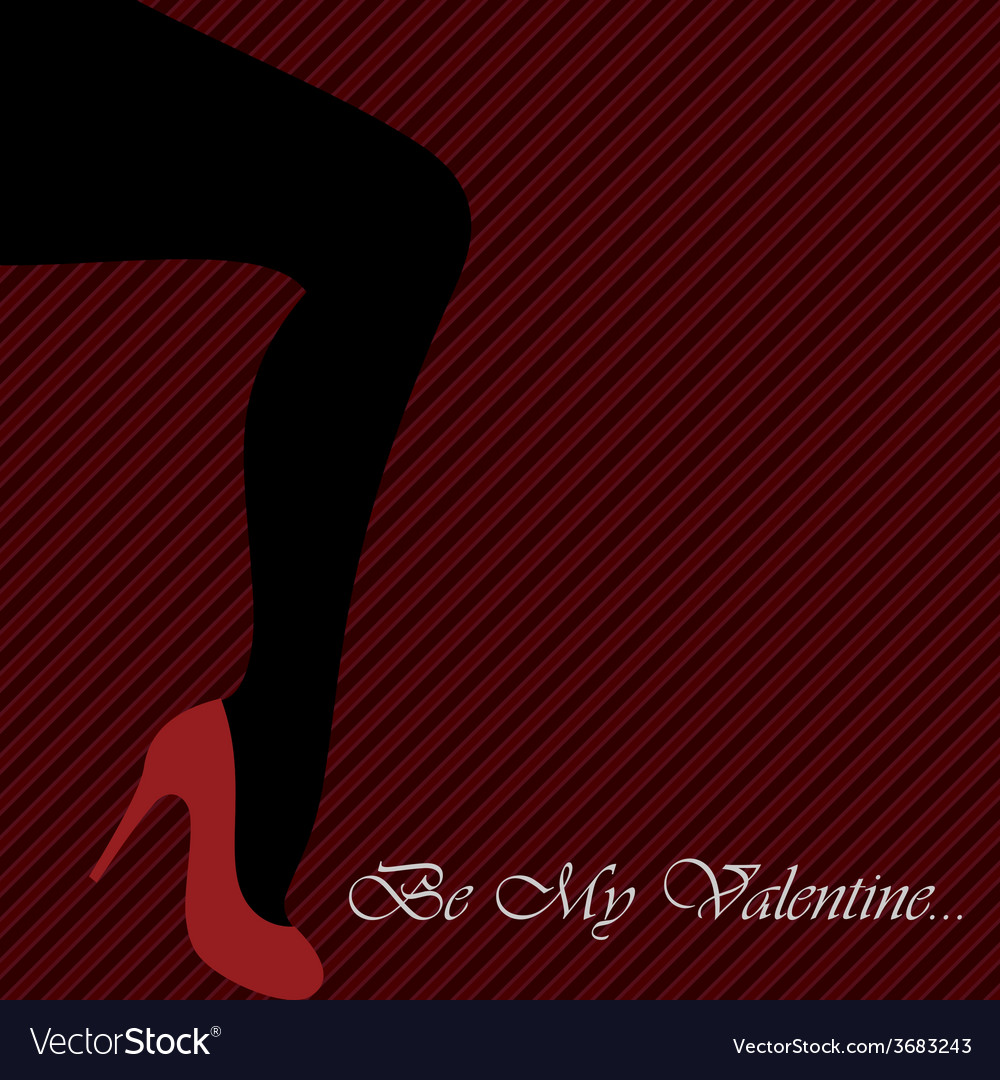 Valentines card with womens leg vector | Price: 1 Credit (USD $1)