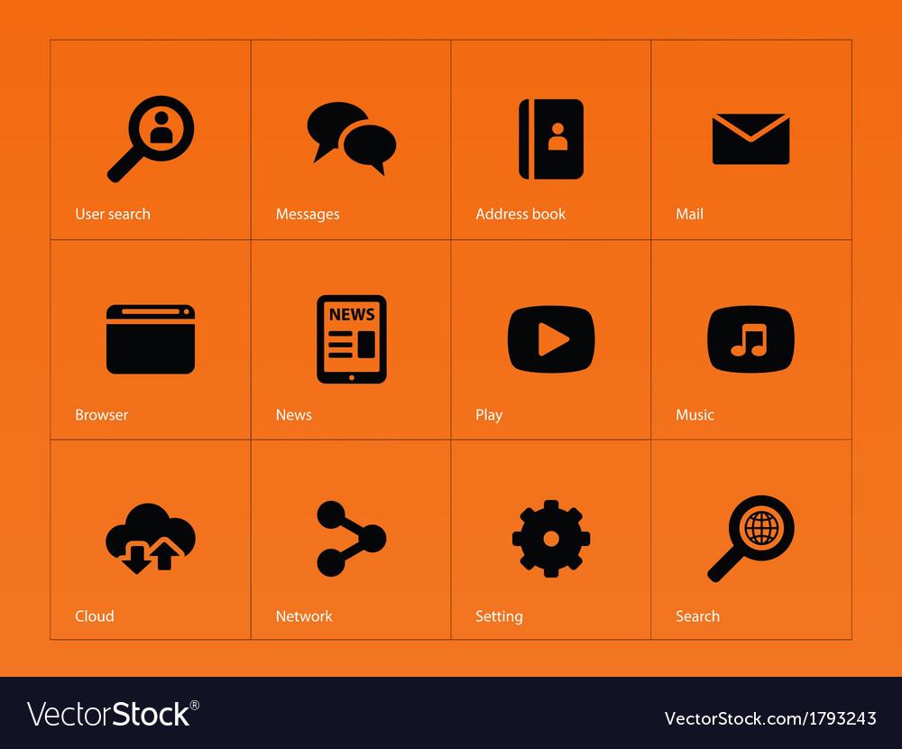 Web icons on orange background vector | Price: 1 Credit (USD $1)