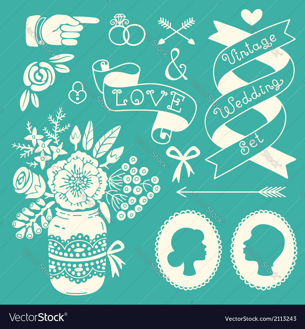 Wedding set of vintage design elements vector | Price: 1 Credit (USD $1)