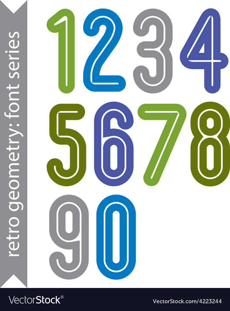 Bright poster classic style rounded bold numbers vector | Price: 1 Credit (USD $1)