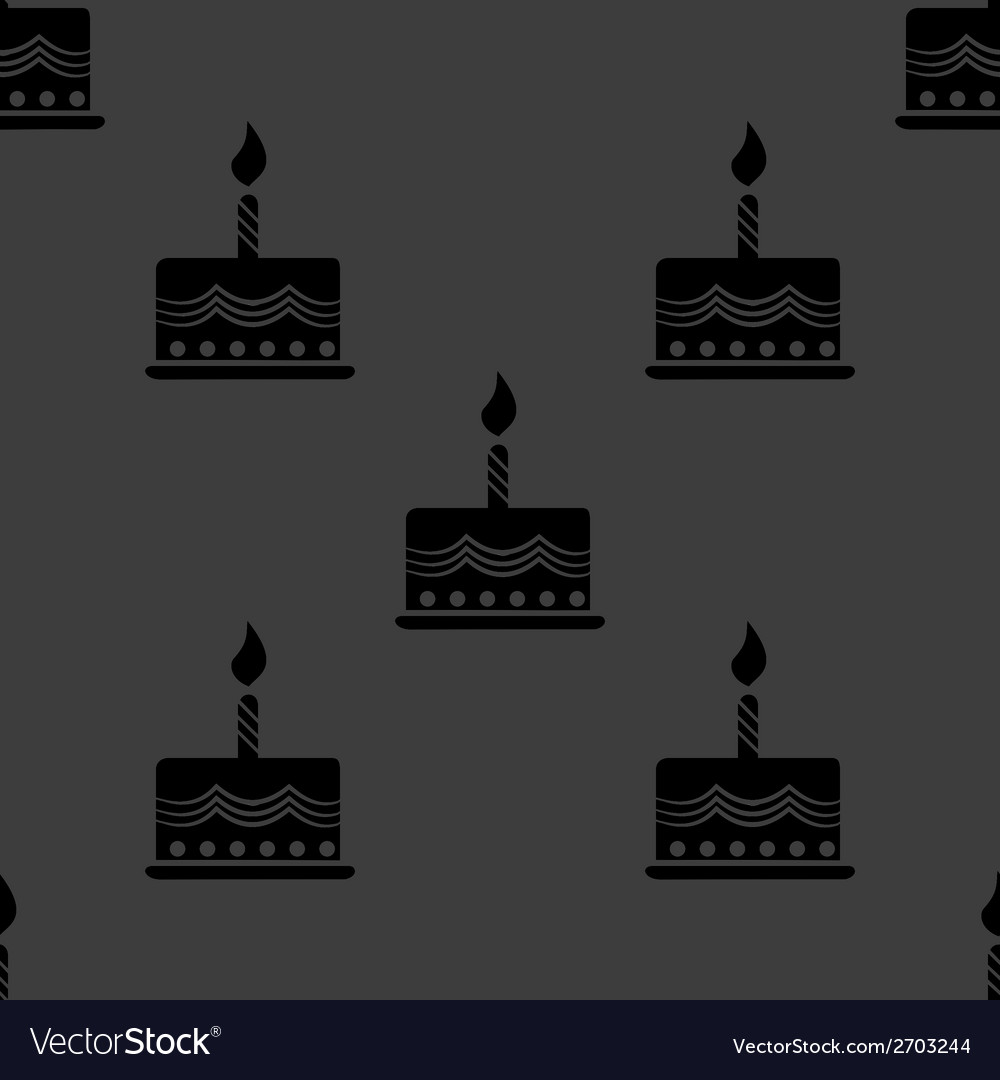 Cake web icon flat design seamless gray pattern vector | Price: 1 Credit (USD $1)