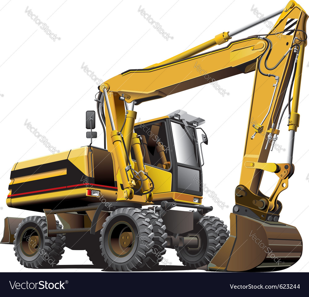 Detailed ial image of light-brown wheeled excavato vector | Price: 3 Credit (USD $3)