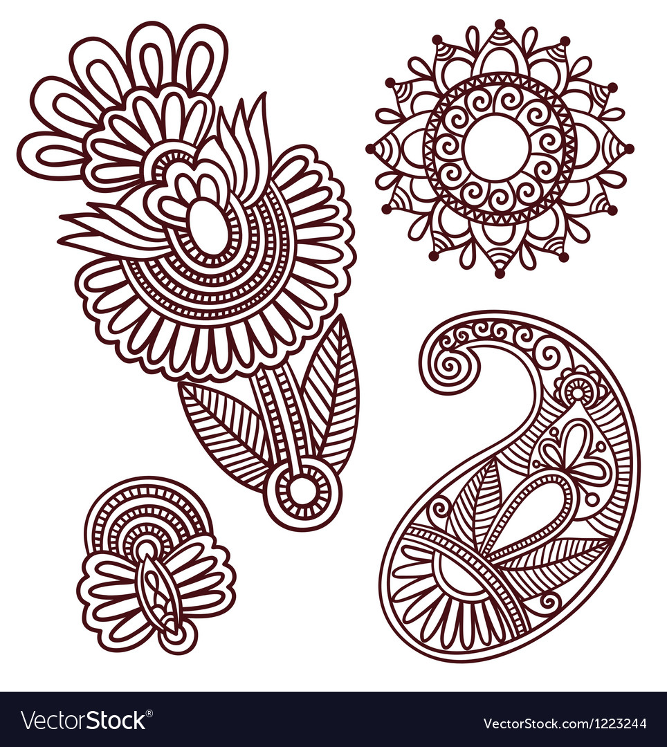 Flowers and paisley doodle design elements vector | Price: 1 Credit (USD $1)
