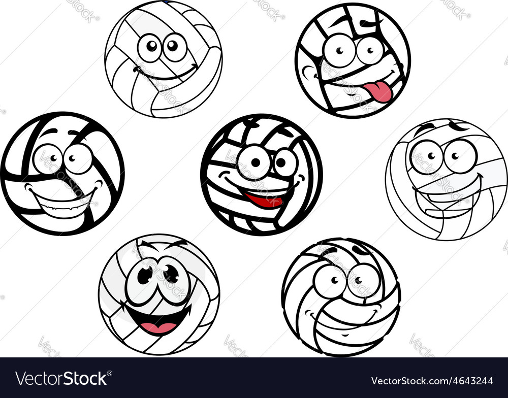 Funny cartoon white volleyball balls characters vector | Price: 1 Credit (USD $1)