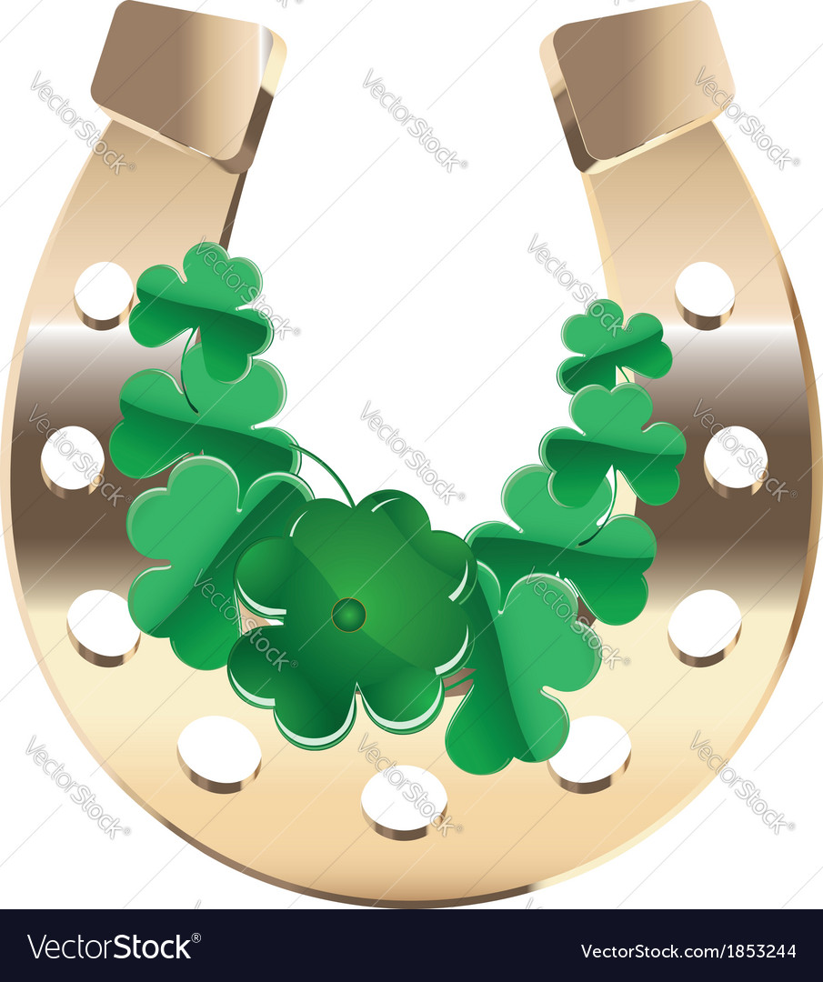 Gold horseshoe with clover vector | Price: 1 Credit (USD $1)