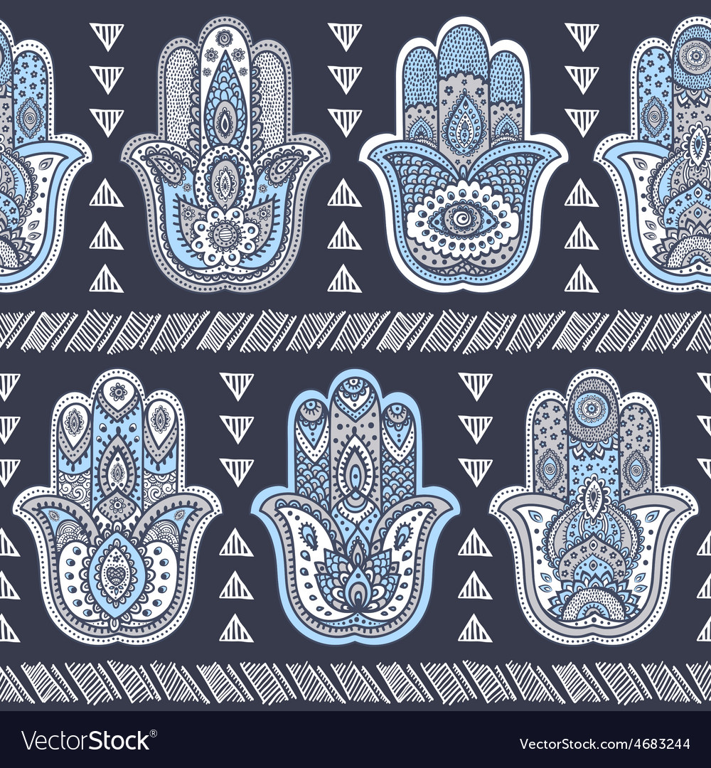 Indian hand drawn hamsa seamless pattern vector | Price: 1 Credit (USD $1)