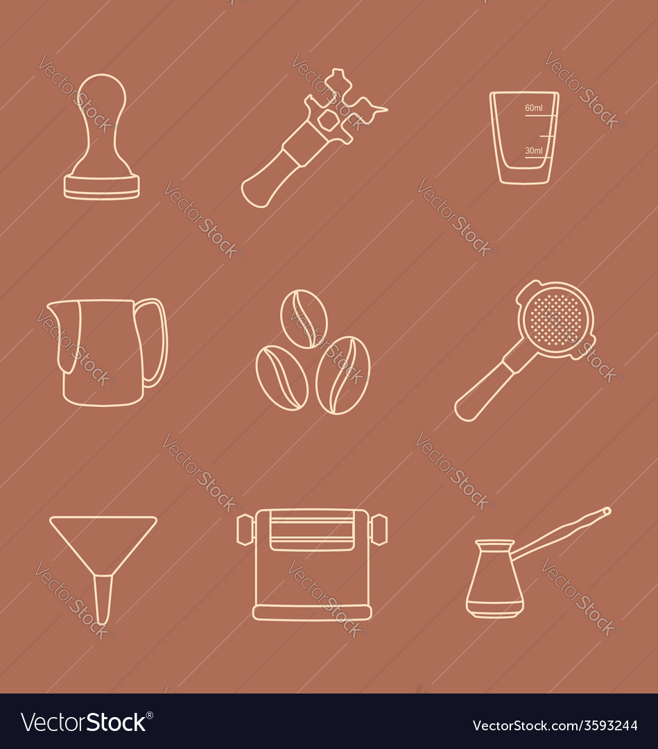 Outline coffee barista instruments icons set vector | Price: 1 Credit (USD $1)