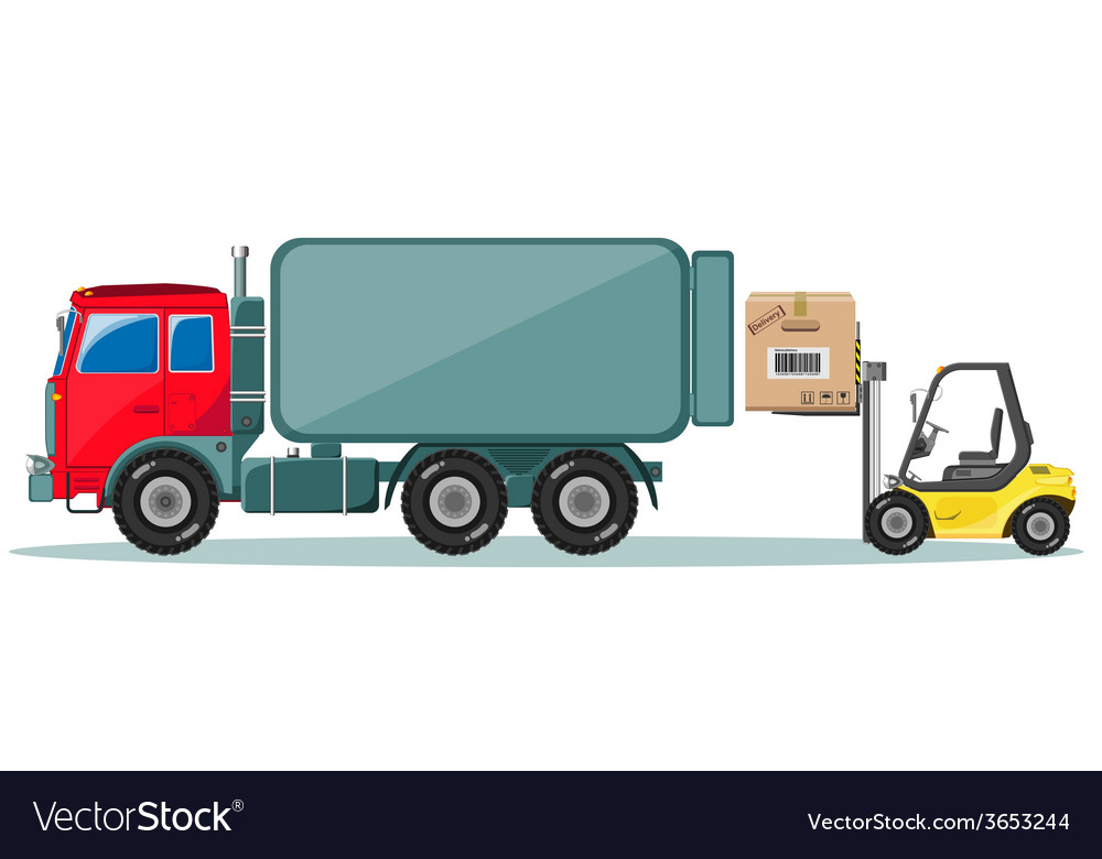 Truck and loader with box delivery of cargo vector   Price: 1 Credit (USD $1)