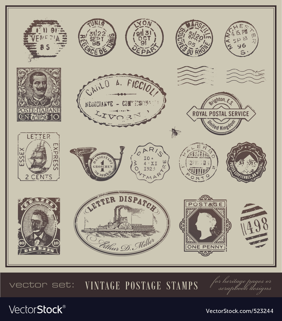 Vintage postage stamps vector | Price: 1 Credit (USD $1)