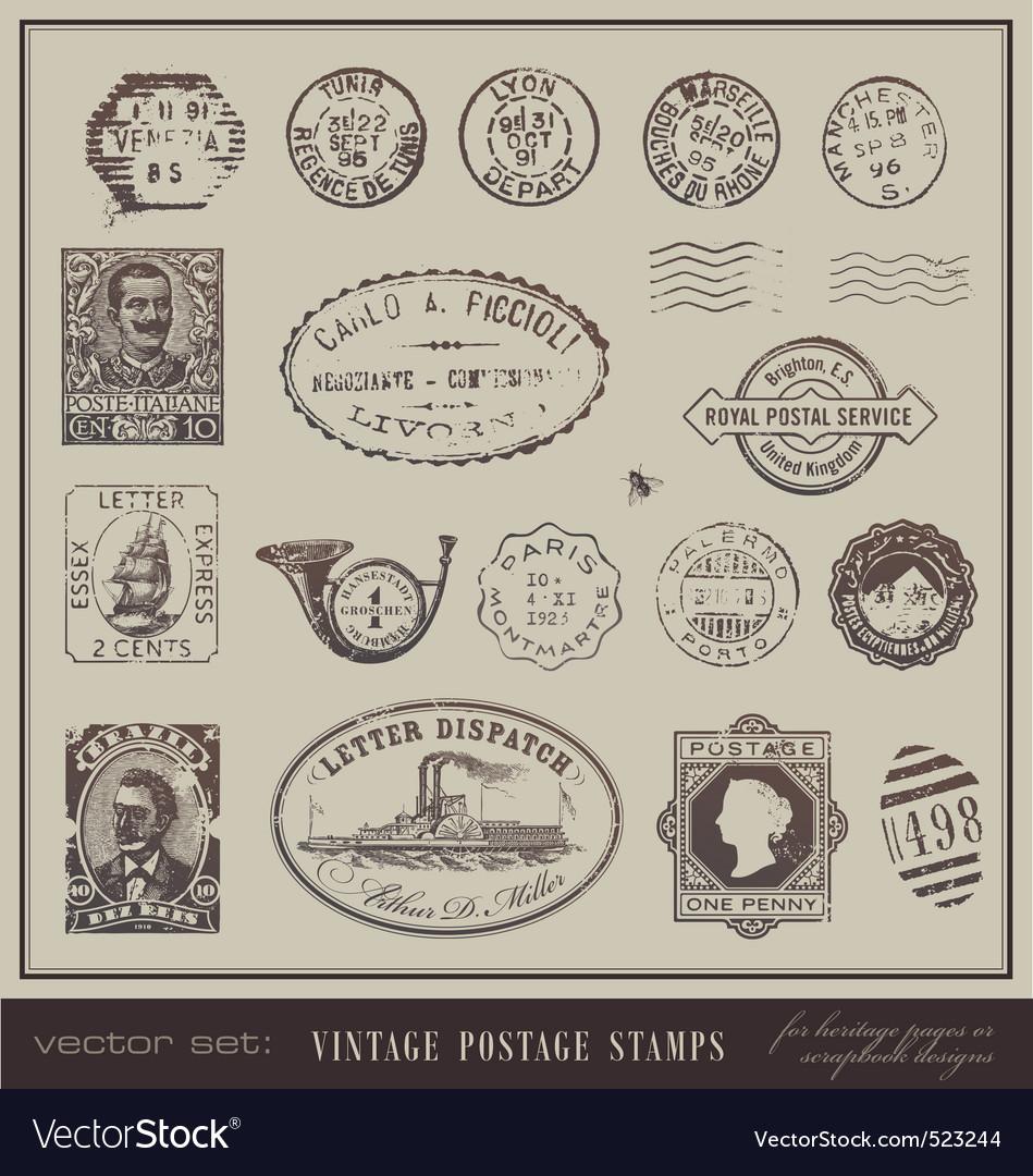 Vintage postage stamps vector | Price: 1 Credit (USD $1)