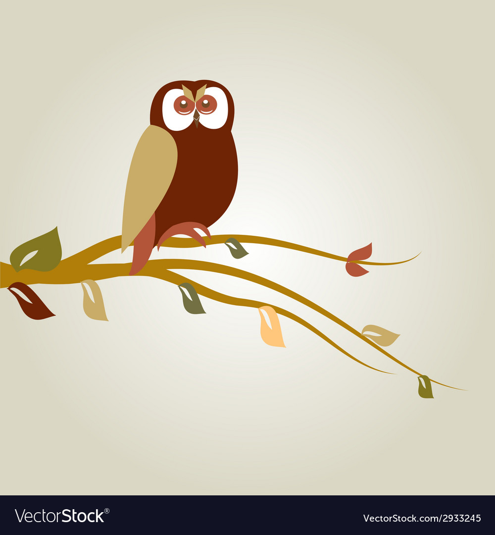 Autumn background with cartoon owl on tree branch vector | Price: 1 Credit (USD $1)