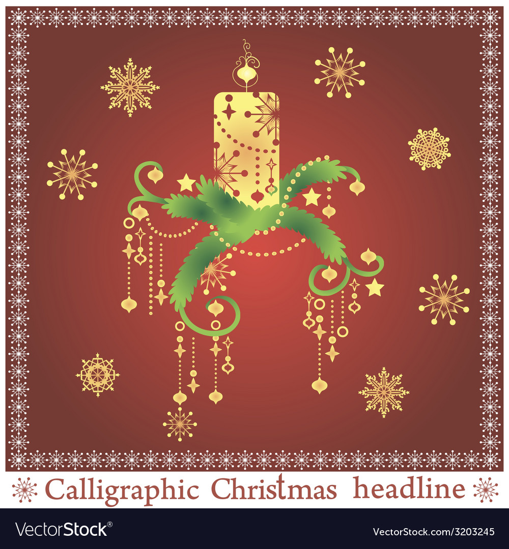 Beautiful christmas candle on the spruse vector | Price: 1 Credit (USD $1)