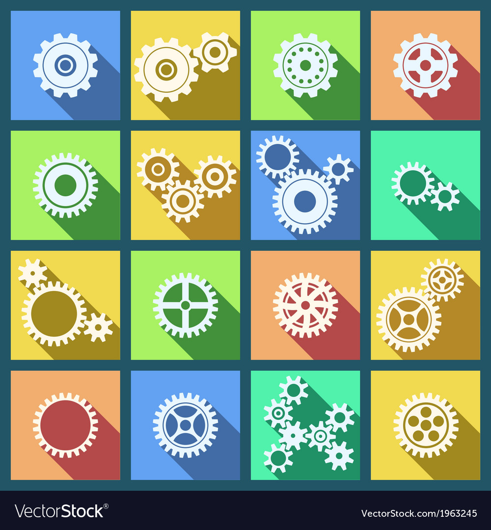Collection of cogs and gears icons set vector | Price: 1 Credit (USD $1)