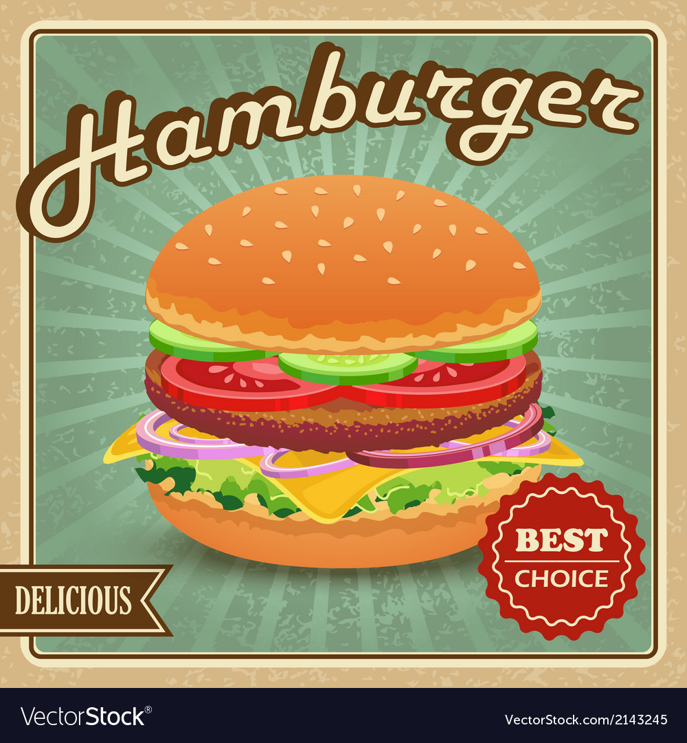 Hamburger retro poster vector | Price: 1 Credit (USD $1)