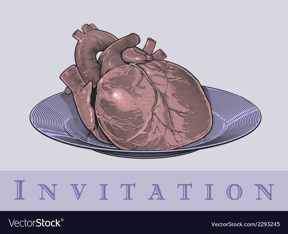 Heart on a plate vector | Price: 1 Credit (USD $1)
