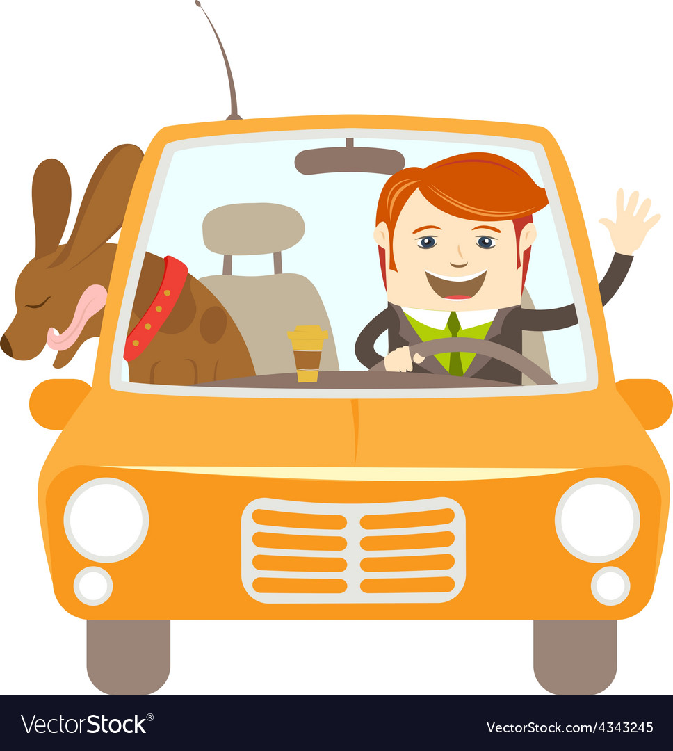 Hipster-traveler driving a car with his dog vector | Price: 1 Credit (USD $1)
