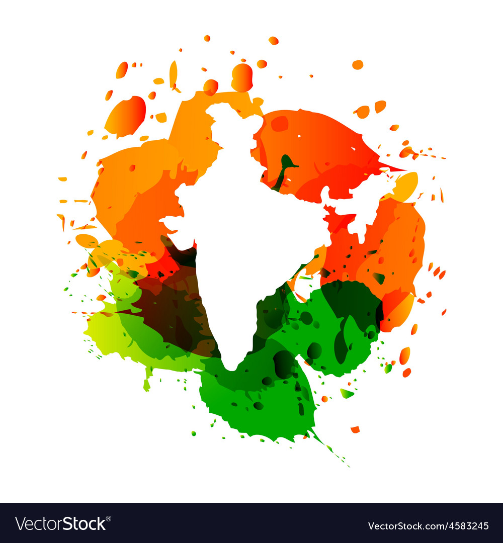 Map of india with colorful ink splashes vector | Price: 1 Credit (USD $1)