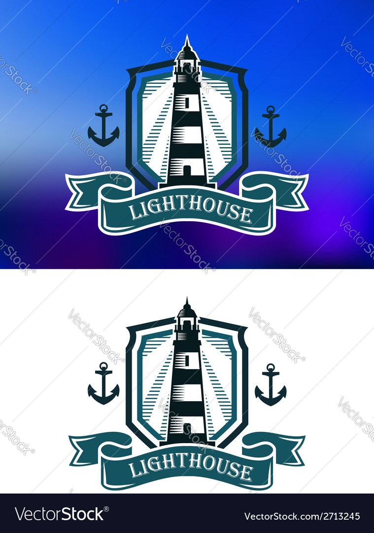 Marine banner with lighthouse and anchor vector | Price: 1 Credit (USD $1)