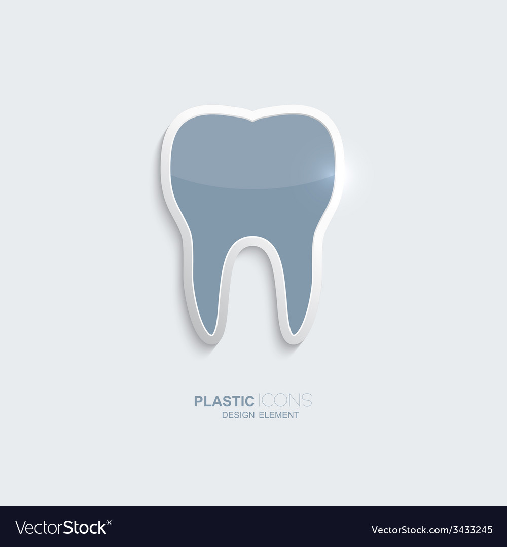 Plastic icon tooth symbol vector