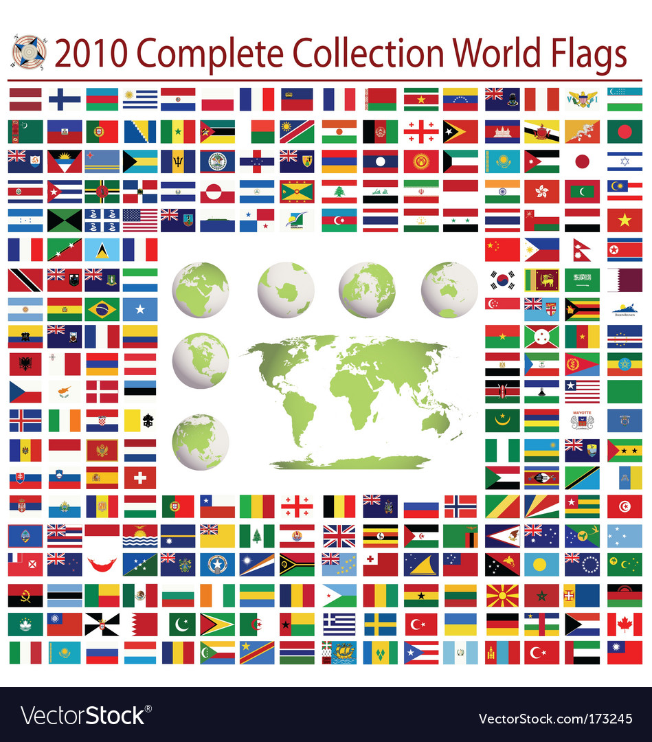 World flags complete collection vector | Price: 1 Credit (USD $1)