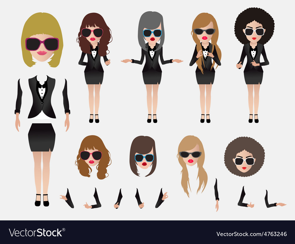 Business woman with character vector
