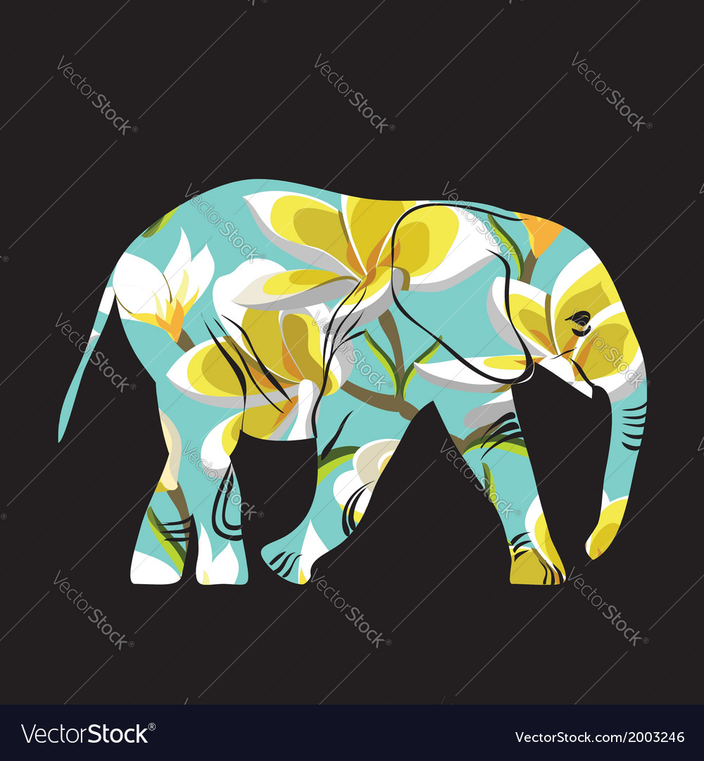 Cartoon elephant the silhouette of the elephant vector | Price: 1 Credit (USD $1)