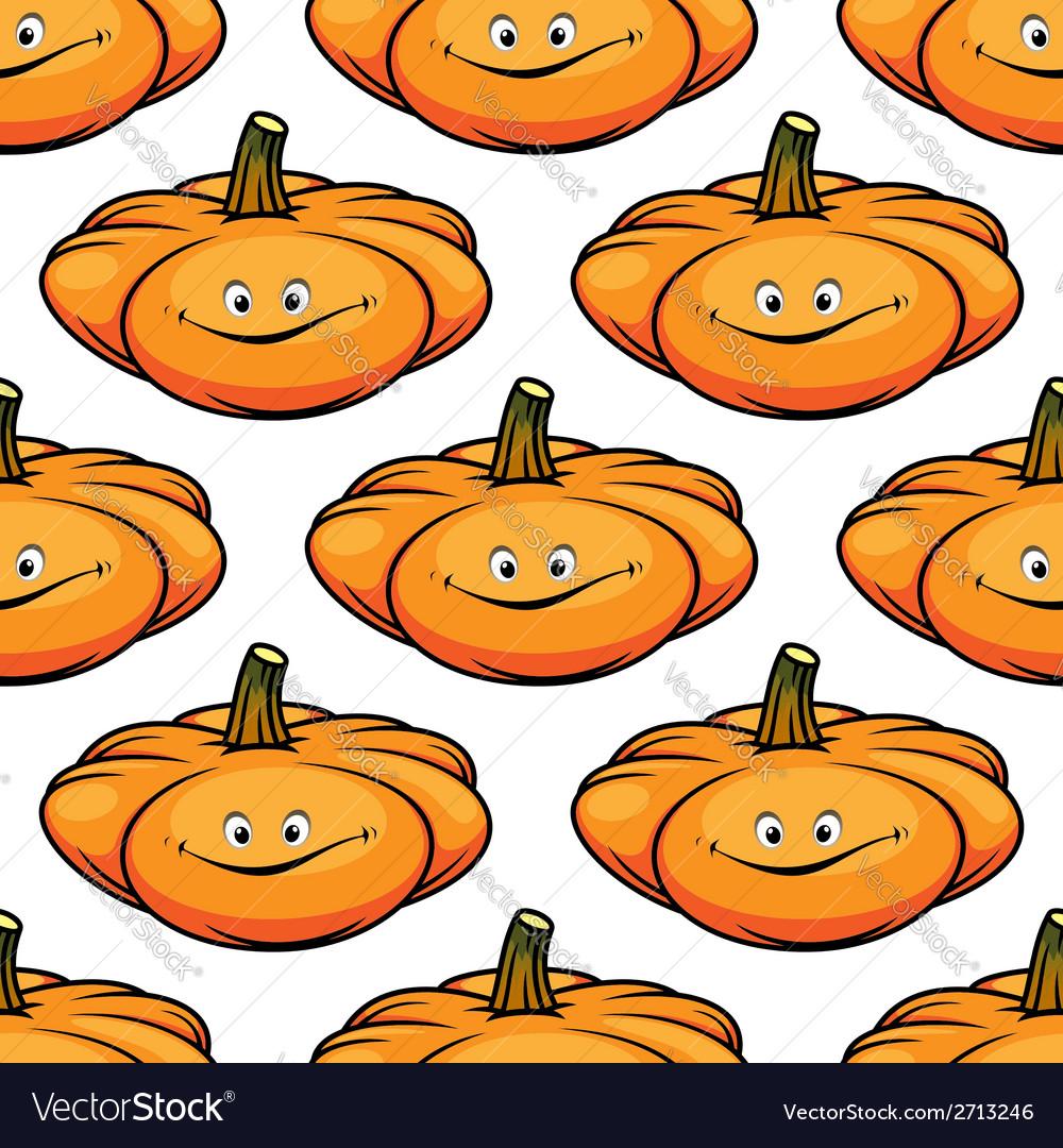 Cartoon smiling pumpkins seamless pattern vector | Price: 1 Credit (USD $1)