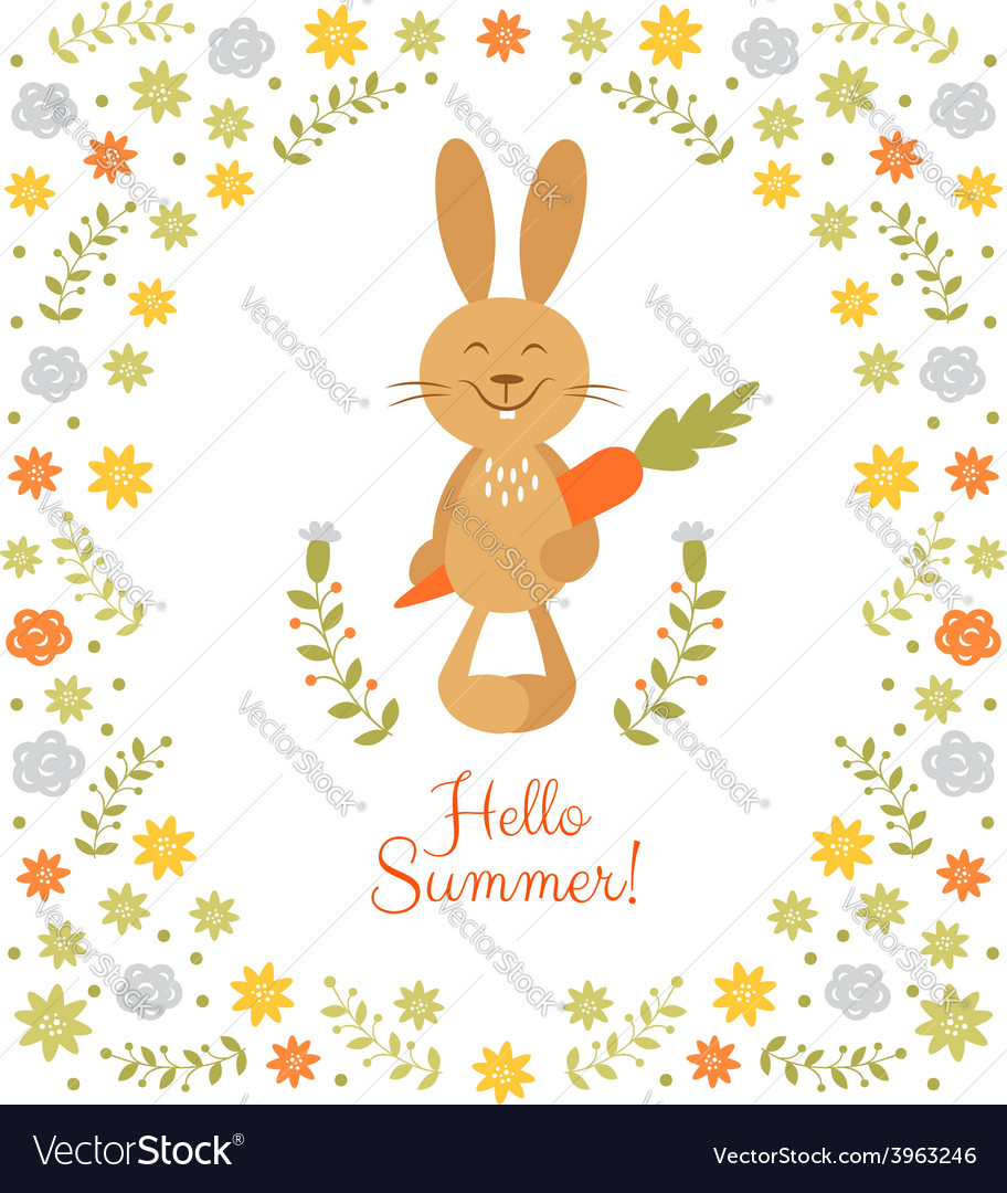 Cute summer card with little rabbit vector | Price: 1 Credit (USD $1)