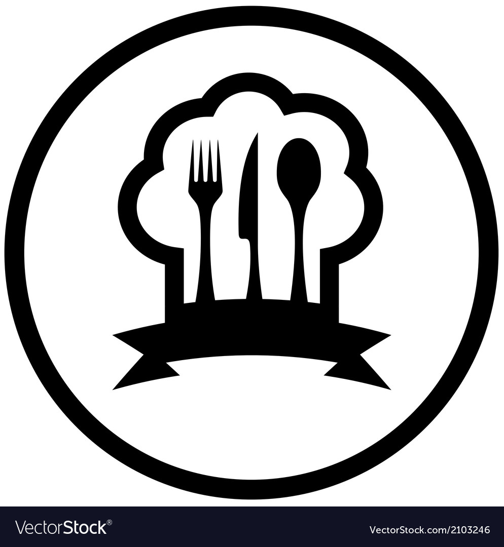 Food icon with chef hat and kitchen utensil vector | Price: 1 Credit (USD $1)