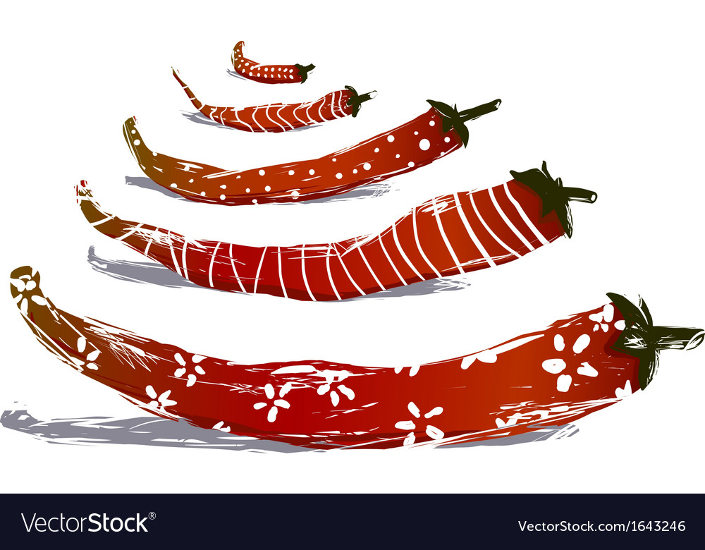 Funny red chilli pepper pods vector | Price: 1 Credit (USD $1)