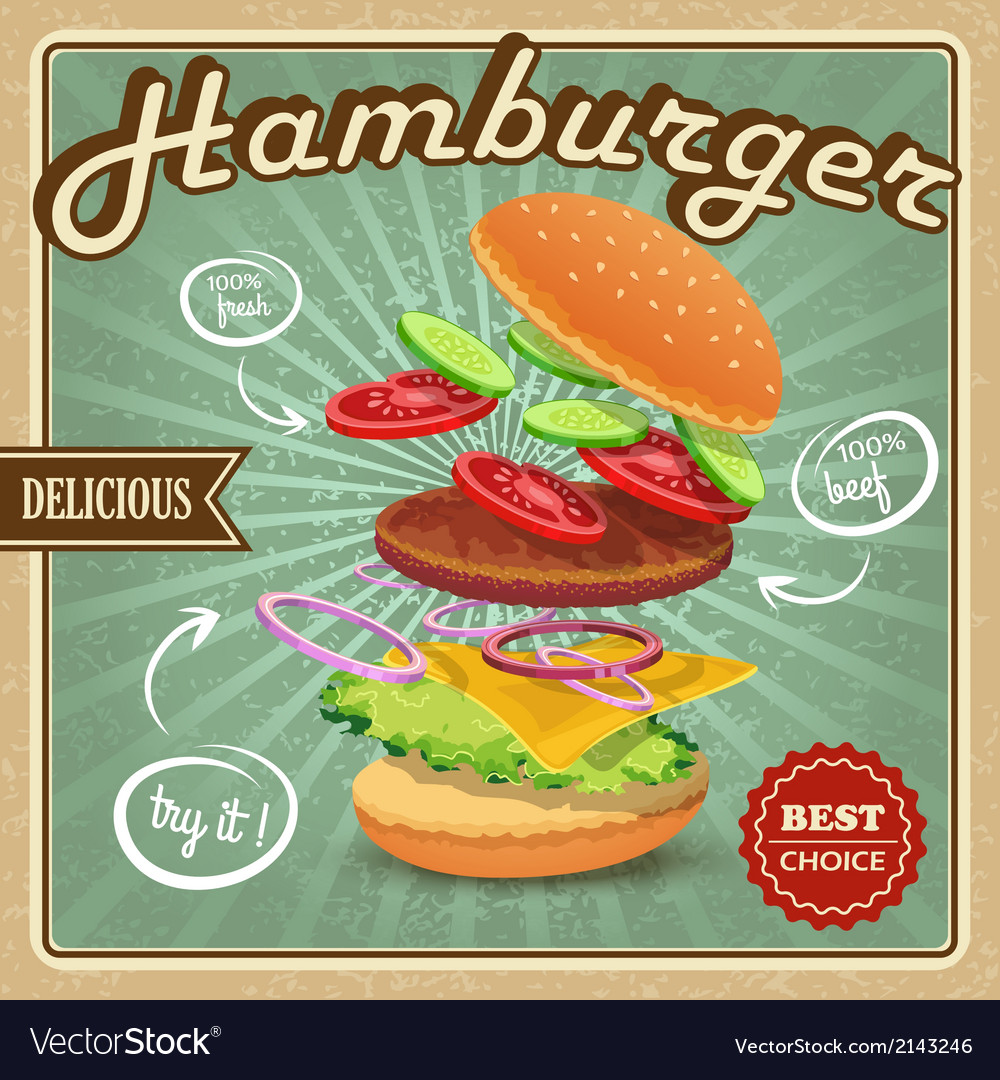 Hamburger retro poster vector | Price: 3 Credit (USD $3)