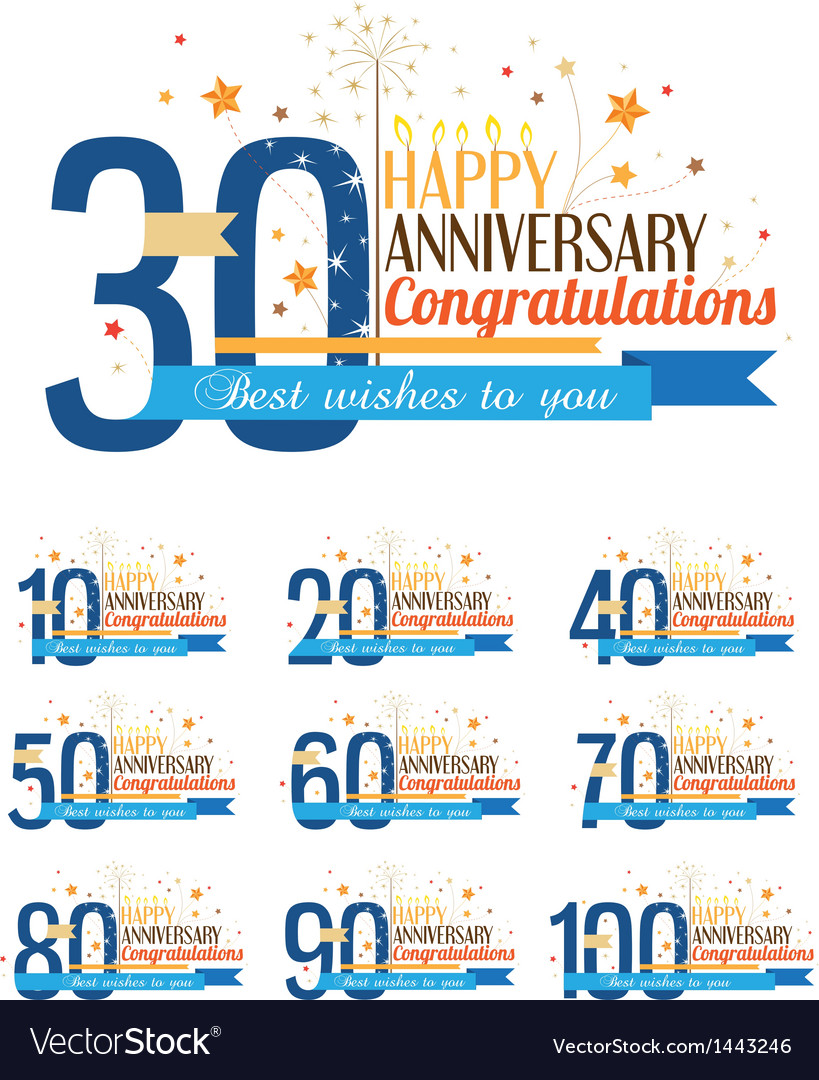 Happy anniversary labels vector | Price: 1 Credit (USD $1)