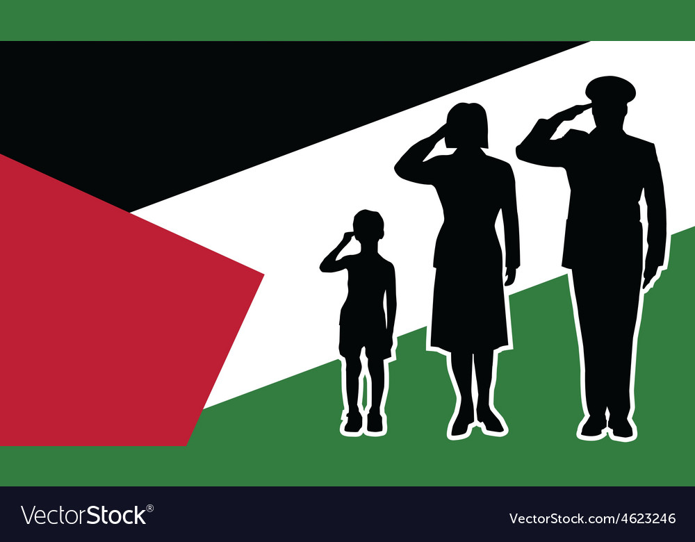 Palestine soldier family salute vector | Price: 1 Credit (USD $1)
