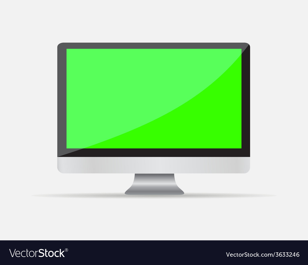 Realistic empty computer display with green screen vector | Price: 1 Credit (USD $1)