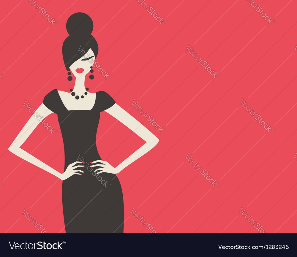 Retro fashion model vector | Price: 1 Credit (USD $1)