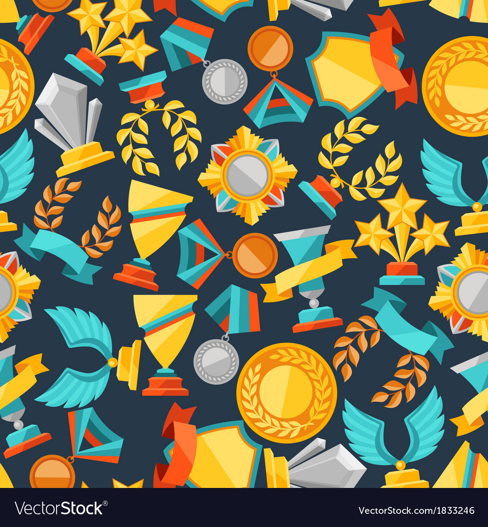 Seamless pattern with trophy and awards vector | Price: 1 Credit (USD $1)