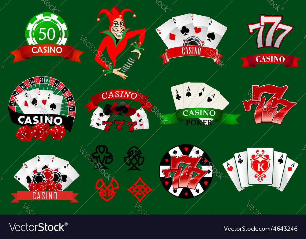 Set of colorful casino icons and emblems vector | Price: 1 Credit (USD $1)