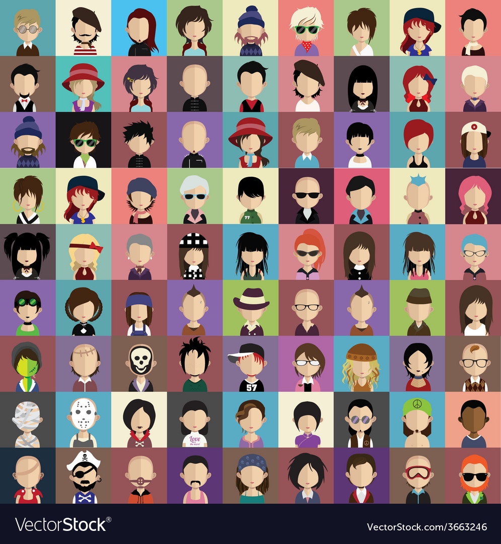 Set of people icons in flat style with faces vector | Price: 1 Credit (USD $1)