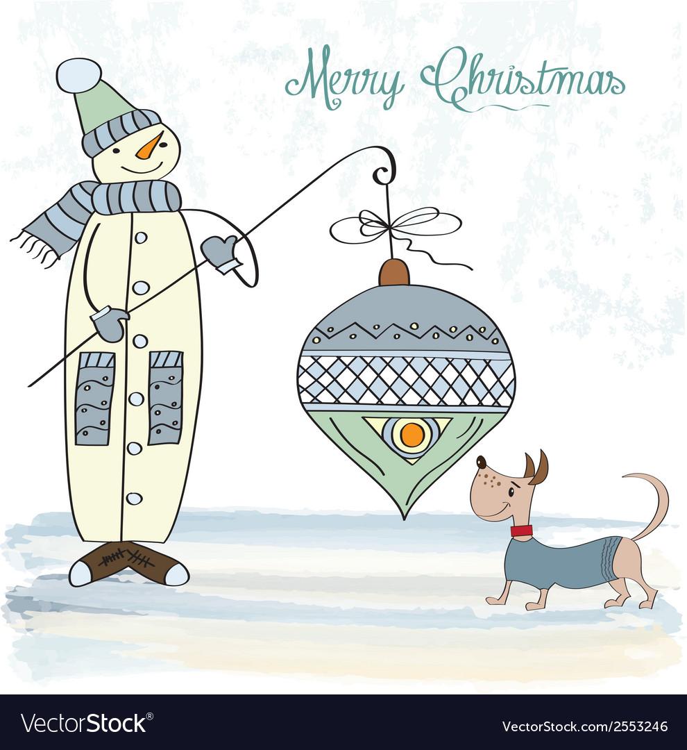 Snowman with big christmas ball vector   Price: 1 Credit (USD $1)