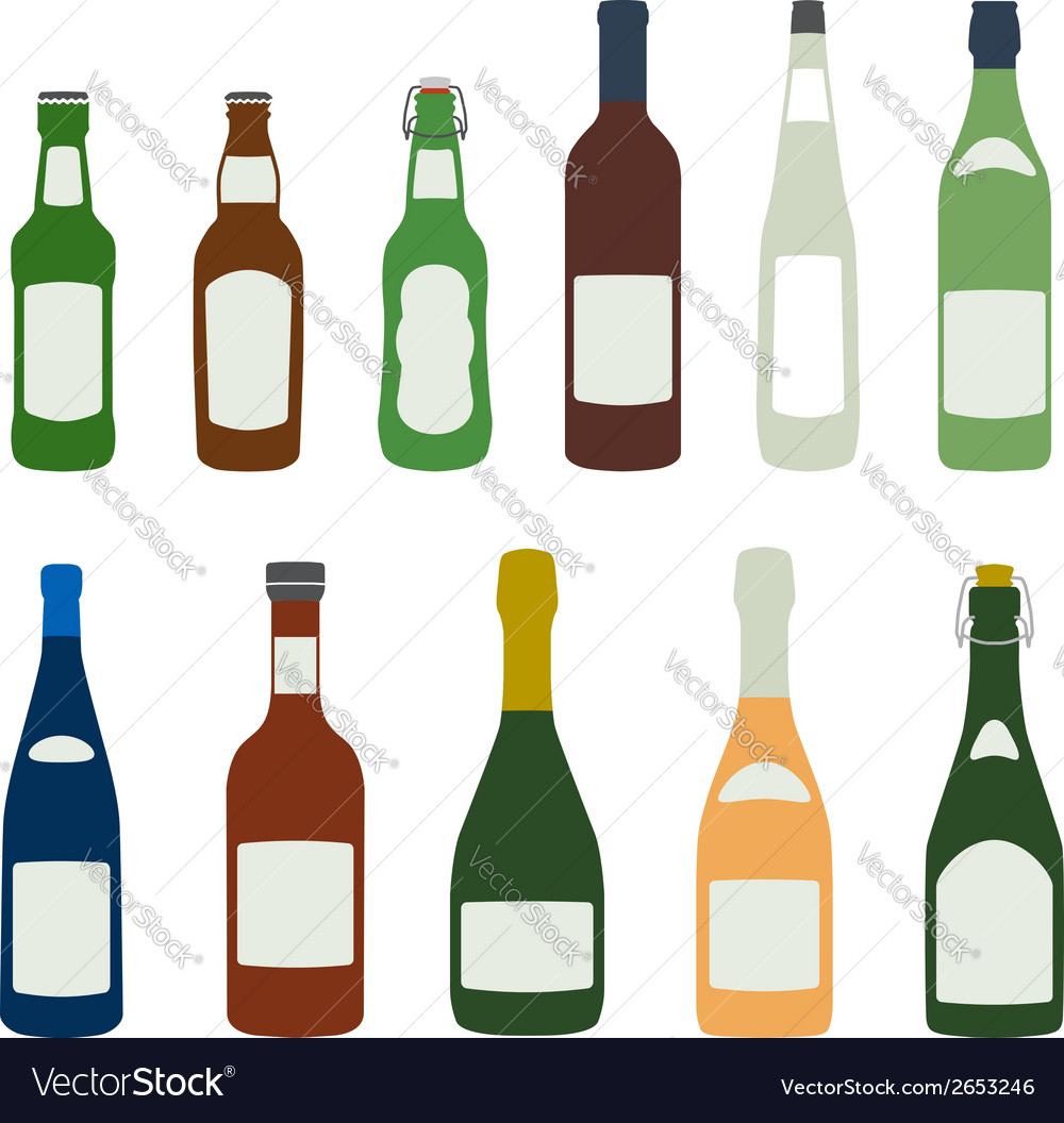 Solid colors alcohol bottles icons set vector | Price: 1 Credit (USD $1)