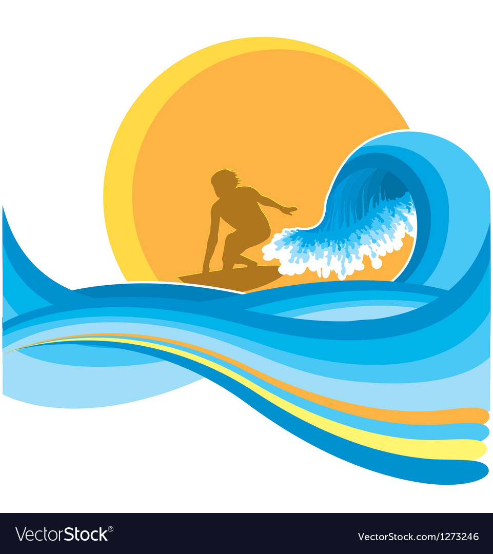 Surfing man on blue wave vector