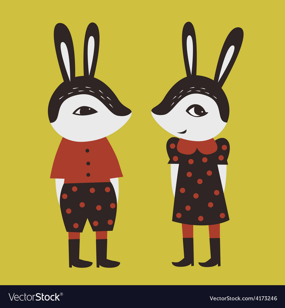Two cute rabbits vector